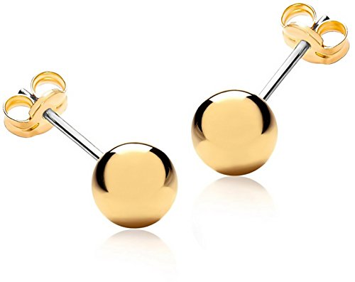 Lifetime Jewelry Stud Earrings for Women & Men 1/4 Inch [ 6mm ] Up To 20X More 24k Real Gold Plating Than Other...