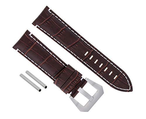 (24MM Leather Watch Band Strap for PAM 44MM PANERAI Marina LUMINOR GMT Brown WS#9)