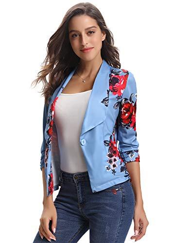 Abollria Women's Blazer Stretch 3/4 Sleeve Open Draped Lapel Work Office Blazer Jacket for Winter -