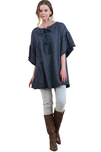 Umgee Women's Half Sleeve Drawstring Tunic Oversize Full Cut (Small/Medium, Denim) Drawstring Silk Tunic