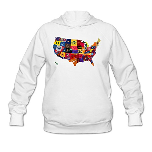 SAVIS Women's NCAA College Sports Teams Logo Map Athletic Hoodie White 100% Cotton