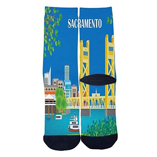 Eletina lee Eletina kgirt Men S Women S Custom Sacramento California Skyline Art Travel Poster Socks 3D Print Novel Creative Casual Crew Socks]()