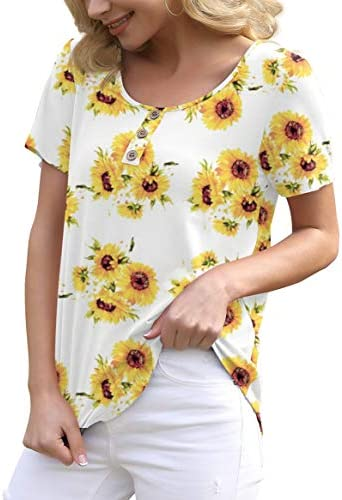 FEIERSI WOMEN'S SUMMER FLORAL TUNIC TOPS CASUAL BLOUSE SHORT SLEEVE BUTTONS UP T-SHIRTS