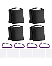 Neewer 4-Pack Photography Sandbag Sand Bags Saddlebag Design 4 Weight Bags for Photo Video Studio Stand Backyard Outdoor Patio Sports, Transparent PP Bag and Clips Included (Black)