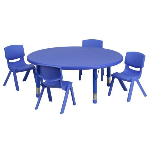 Flash Furniture 45'' Round Blue Plastic Height Adjustable Activity Table Set with 4 Chairs