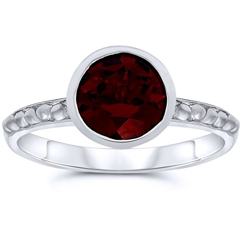 .925 Sterling Silver 7mm Round Shape Bezel Set Natural Garnet Gemstone Solitaire Ring, Birthstone of January 6 7 Mm Round Shape