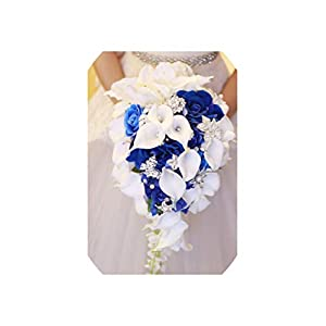 meet-you Waterfall Red Wedding Flowers Bridal Bouquets Artificial Pearls Crystal Wedding Bouquets,Royal Blue 55