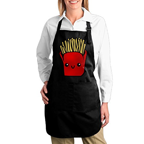 Dogquxio Emoji French Fries Kitchen Helper Professional Bib Apron With 2 Pockets For Women Men Adults Black