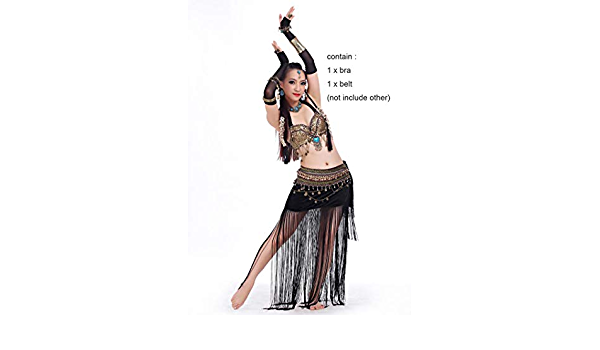 Belly Dancing Cloth Tribal 2pcs Set Coins Bra Tassel Hip Scarf Tribal Dance set