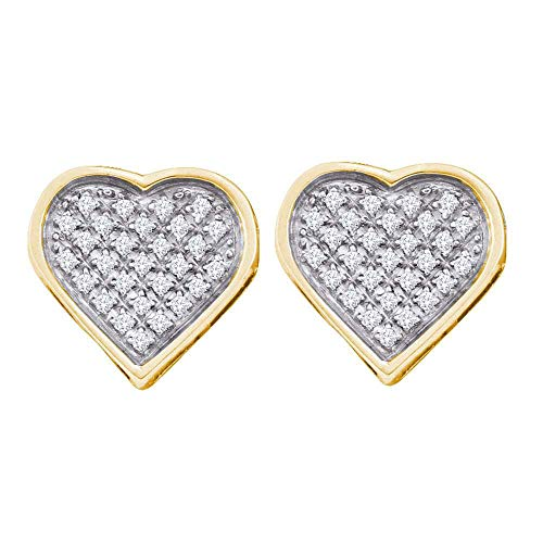 The Diamond Deal Yellow-tone Sterling Silver Womens Round Diamond Heart Cluster Stud Earrings 1/6 -
