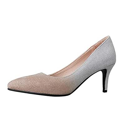 ELEEMEE Women Fashion Stiletto High Heel Pumps Pointed Toe Slip On Pump Shoes Apricot Size 34 Asian