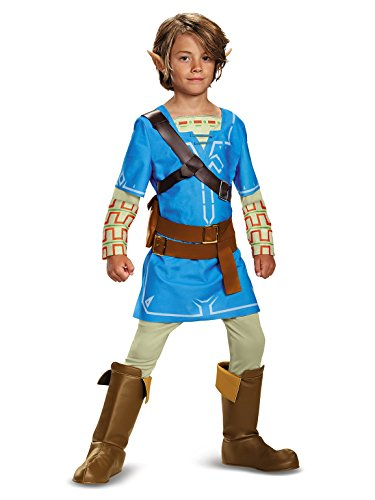Link Breath Of The Wild Deluxe Costume, Blue, Medium (7-8) -