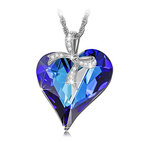 LADY COLOUR Sweet Heart Blue Heart Pendant Necklace Swarovski Crystals Fashion Jewelry for Women Anniversary Gifts for Her Girlfriend Wife Birthday Gifts for Mom Sister Wedding Jewelry for (Sweetheart Shaped Crystal)