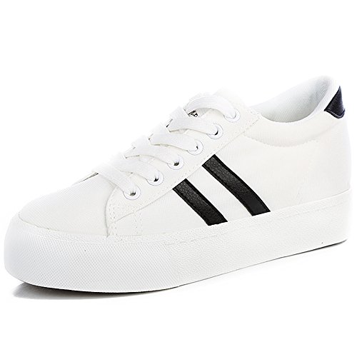 White Canvas Heel Low Two Shoes Trainers Ribbons Lace Fashion Sneakers Up Comfort Women Renben Wedge RqPHYx6p