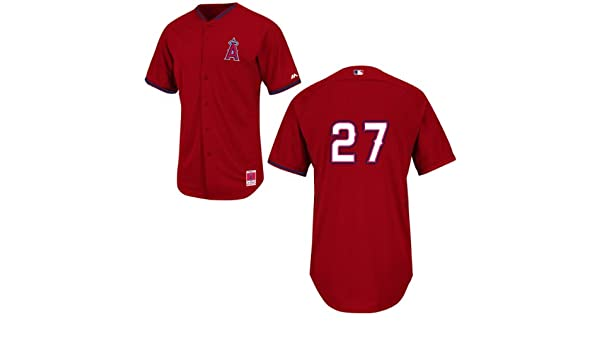 23b275ee6 Amazon.com   Mike Trout Los Angeles Angels Red Batting Practice Jersey by Majestic  Select Jersey Size  44 - Large   Sports   Outdoors