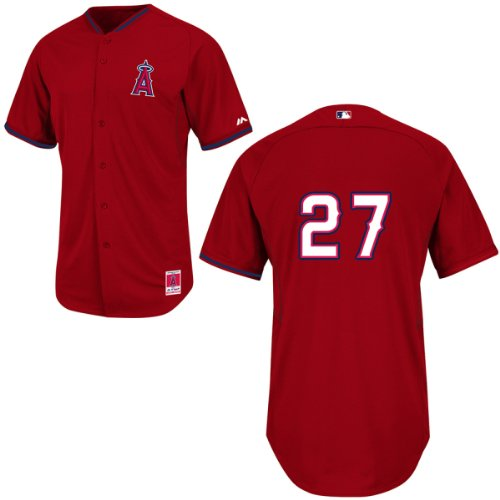 Majestic Batting Practice Jersey - Mike Trout Los Angeles Angels Red Batting Practice Jersey by Majestic Select Jersey Size: 44 - Large