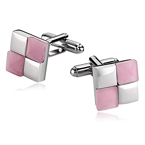 r Men Suitable for Wedding Anniversary Stainless Steel Rhombic Square Cuff Links Silver Pink ()