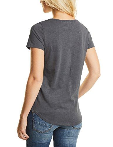 Cecil Frontprint Shirt, Camiseta para Mujer Grau (Dark Silver 30126)
