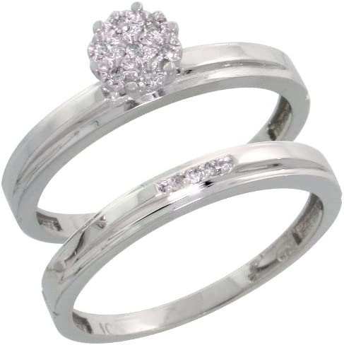 w// 0.06 Carat Brilliant Cut Diamonds 7//32 in. wide 5.5mm Sterling Silver Diamond Engagement Ring