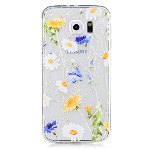 Samsung Galaxy S6 Case, KSHOP Premium Accessory Ultra Thin Transparent Clear Soft Gel TPU Silicone Case Cover Bumper Shellfor Samsung Galaxy S6-Chrysanthemums