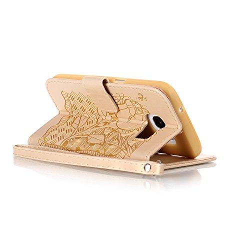 Custodia Galaxy S7 ISAKEN Cover Samsung Galaxy S7 con Strap, Elegante borsa Dente di leone Design in Pelle Sintetica Ecopelle PU Case Cover Protettiva Flip Portafoglio Case Cover Protezione Caso con S cranio:oro