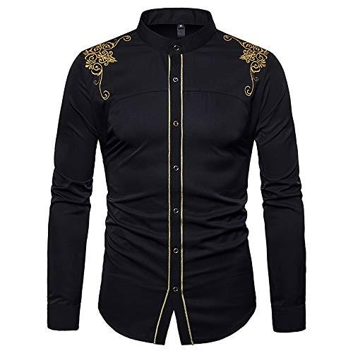 (IYFBXl Men's Work Slim Shirt - Floral Basic Standing Collar/Long Sleeve,Black,M)