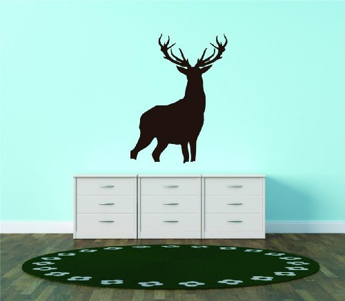 Silhouette Deer Buck Antler Wildlife Forest Animal Vinyl Wall Decal Peel & Stick Graphic Sticker Picture Art Home Bedroom Decoration Kids Boy Girl Teen Dorm Room Children - 22 Colors Available Reduced Sale Price For Savings 15x20