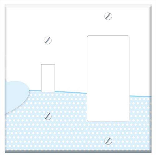 - 1-Toggle 1-Rocker/GFCI Combination Wall Plate Cover - Heart Love Baby Newborn Birth Greeting Mama M