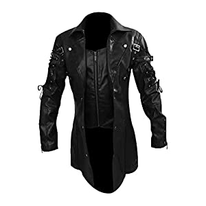 LKT Mens Real Leather Goth Matrix Trench Coat Steampunk Spooky Stylish Design Real Leather Gothic Coats