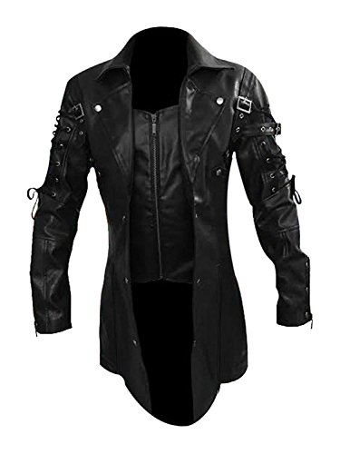 (LKT Mens Real Leather Goth Matrix Trench Coat Steampunk Spooky Stylish Design Real Leather Gothic Coats (Large) )