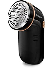 Philips Fabric Shaver for Removing Fabric Pills, Suitable for All Garments, Includes 2 Philips AA Batteries, Height Adjustment Cap, Black, GC026/80