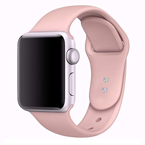 MadeforOnline Sport Band for Apple Watch 42mm 38mm, Soft Silicone Waterproof Replacement Band iWatch Bands Wristband for Apple Watch Sport, Series 3, Series 2, Series 1 S/M M/L (Pink Sand, 38mm S/M)