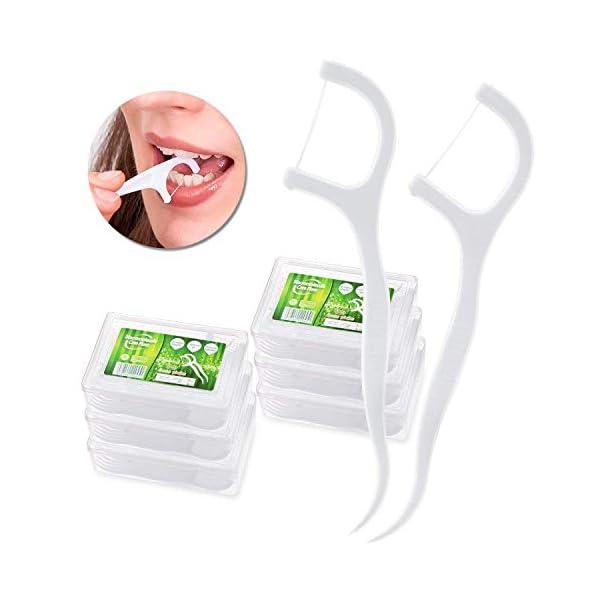 Hilo Dental – Meersee 180 piezas Seda Dental Palo Hilo Dental Pre-cortadas Seda de Dientes, Pack de 6 2