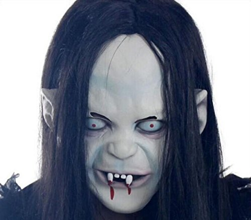 Adult Men Full Face Halloween Horror Witch Mask Curse Black Hair Ghost (Children Place Witch Costumes)