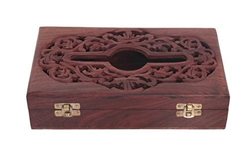 IndiaBigShop Wooden Tissue Box Holder Carving Work, Napkin Holders For Tables, Rectangular Tissue Paper Box, Brown Color Size 10 X 6 Inch