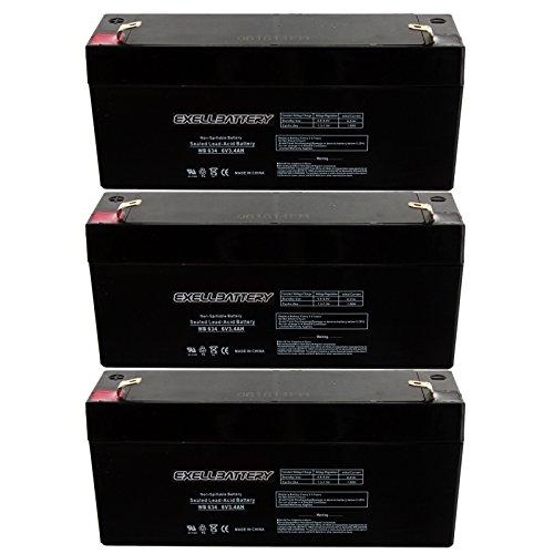 3pc Exell 6V 3.4Ah SLA Battery WB634 for UB634, PS630, D5732 Many Uses Alarm System, fire Alarm, Burglar Alarm, UPS Backup Battery, Smoke Detector, exit Signs, inverters, Lighting, Signage, Toys