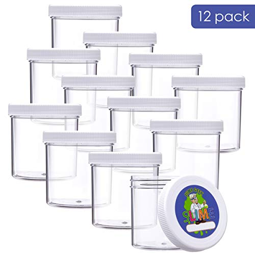 Empty Slime Storage Containers - 6 Oz Clear Slime Jars with Lids and Labels