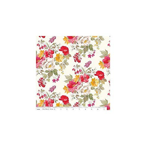 Rose Fabric Floral (Penny Rose - Farmhouse Floral - Cream - Cotton Fabric)