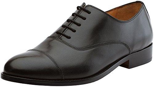 3DM Lifestyle Men's Classic Toe Cap Oxford Lace Up Leather Lined Dress Oxfords Shoes- US 10- 10.5 Black
