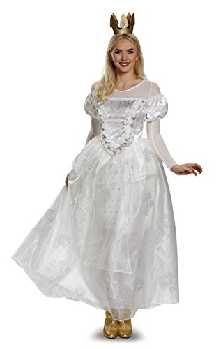 Disney Women's Alice Queen Deluxe Costume, White, (White Queen Halloween Costume)