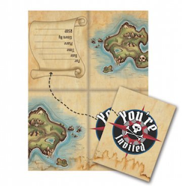 8-Count Party Invitations, Pirate's Map (Pirate Treasure Party Invitations)
