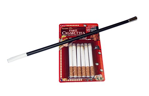 Long Cigarette Holder with Six Fake Cigarettes Set Roaring 20s