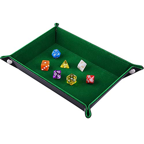 SIQUK Double Sided Dice Tray, Folding Rectangle PU Leather and Dark Green Velvet Dice Holder for Dungeons and Dragons RPG Dice Gaming D&D and Other Table Games