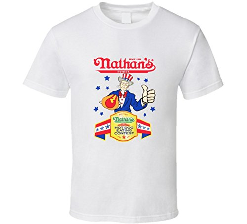 Nathans Hot Dog Eating Contest 4th of July Joey Chestnut Champion T Shirt M White (Chestnut Shirt Mens)