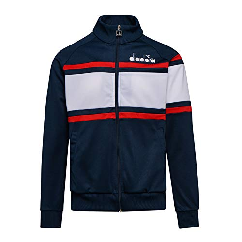 - Diadora Mens Sportswear 80s Track Jacket in Blue Denim/Optical White Large