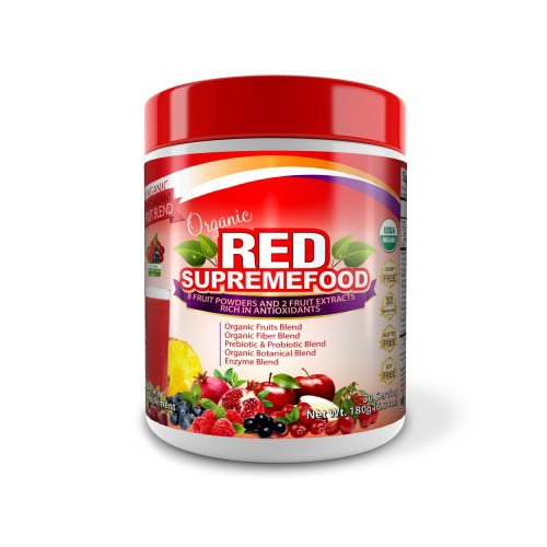 Dr.Colbert's Organic Red Supremefood - Organic 10 Fruits + Probiotics, USDA Organic, Dairy Free, Soy Free, Enzymes, Herbs, Fiber & Antioxidant Rich - 180g - Berry Flavored Blend (30 Day Supply)