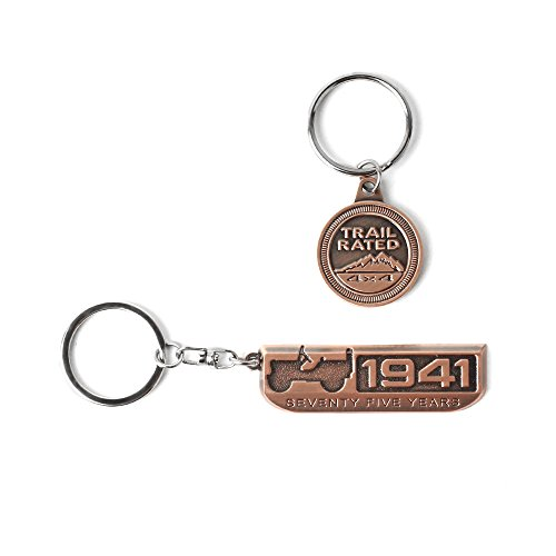 3D Red Bronze Metal Badge 75 Anniversary 1941 Keychain for Jeep Wrangler Enthusiast Accessories