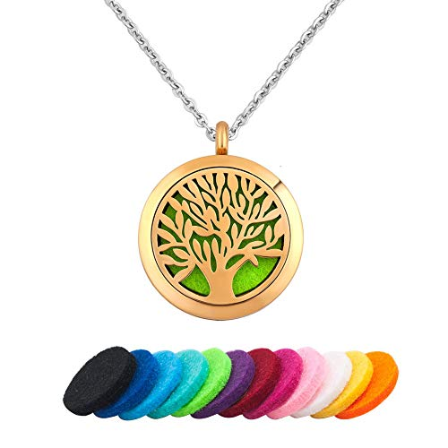 Yellow Gold Tone Tree of Life Necklace Essential Oil Diffuser Perfume Scented Locket