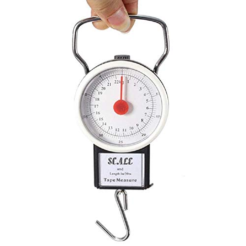 Manual Luggage Scale w/Built-in Tape Measure Weighs Bags-To 75lbs.- Measures Bag Up To 39 Black-One Size
