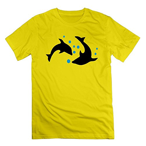 Thelover8 Men's Dolphisn & Bubbles -5 T-Shirt - S Yellow (Bree Bubbles)